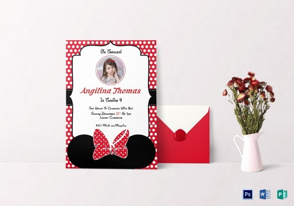 Minnie Mouse Invitation Card New 33 Minnie Mouse Birthday Invitation Templates – Psd Word Ai