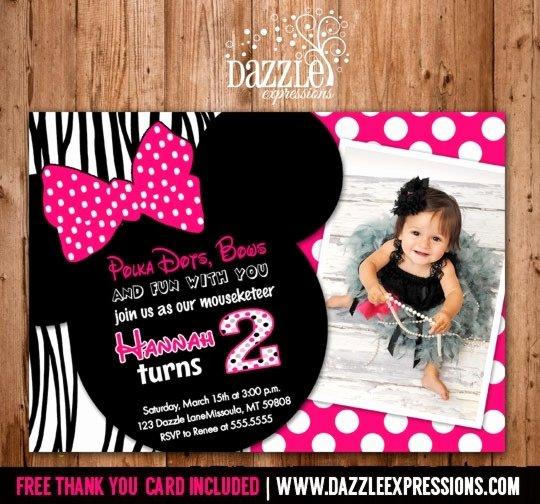 Minnie Mouse Invitation Card New Minnie Invitation Card Cobypic