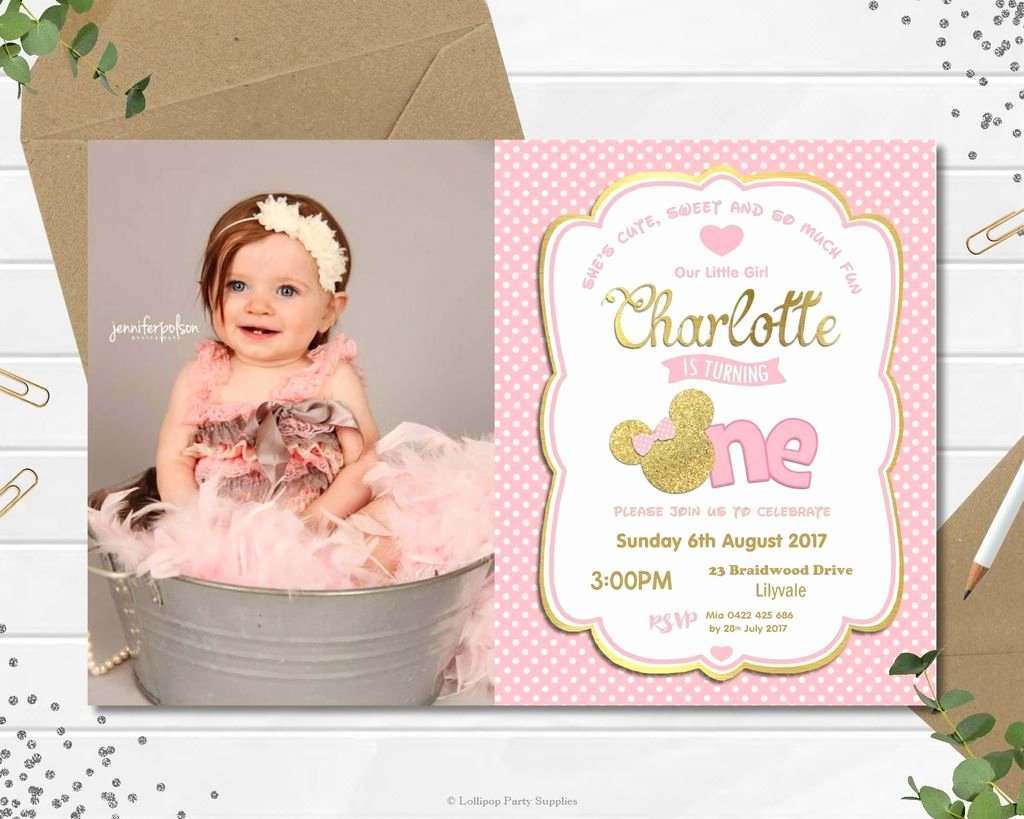 Minnie Mouse Invitation Card New Minnie Mouse First 1st Birthday Cardstock Invitations Invite Pink Gold Photo
