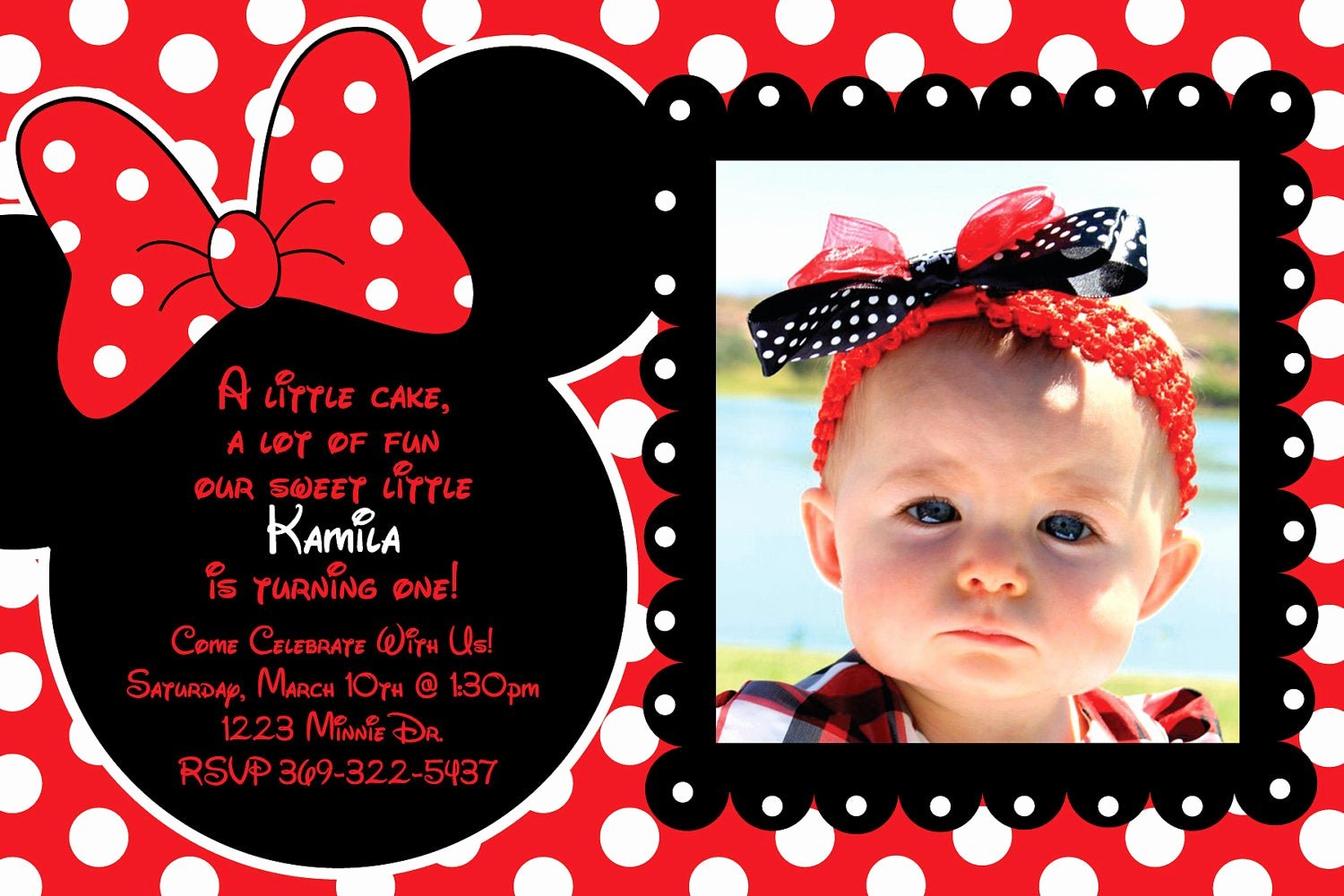 Minnie Mouse Invitation Card Unique Custom Red and Black Polka Dot Minnie Mouse by Heatherscreations11