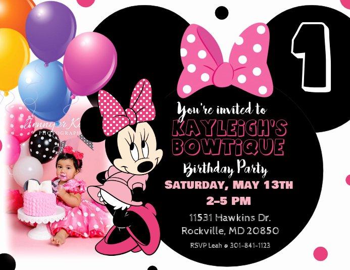 Minnie Mouse Invitation Card Unique Minnie Mouse Birthday Invitation Template