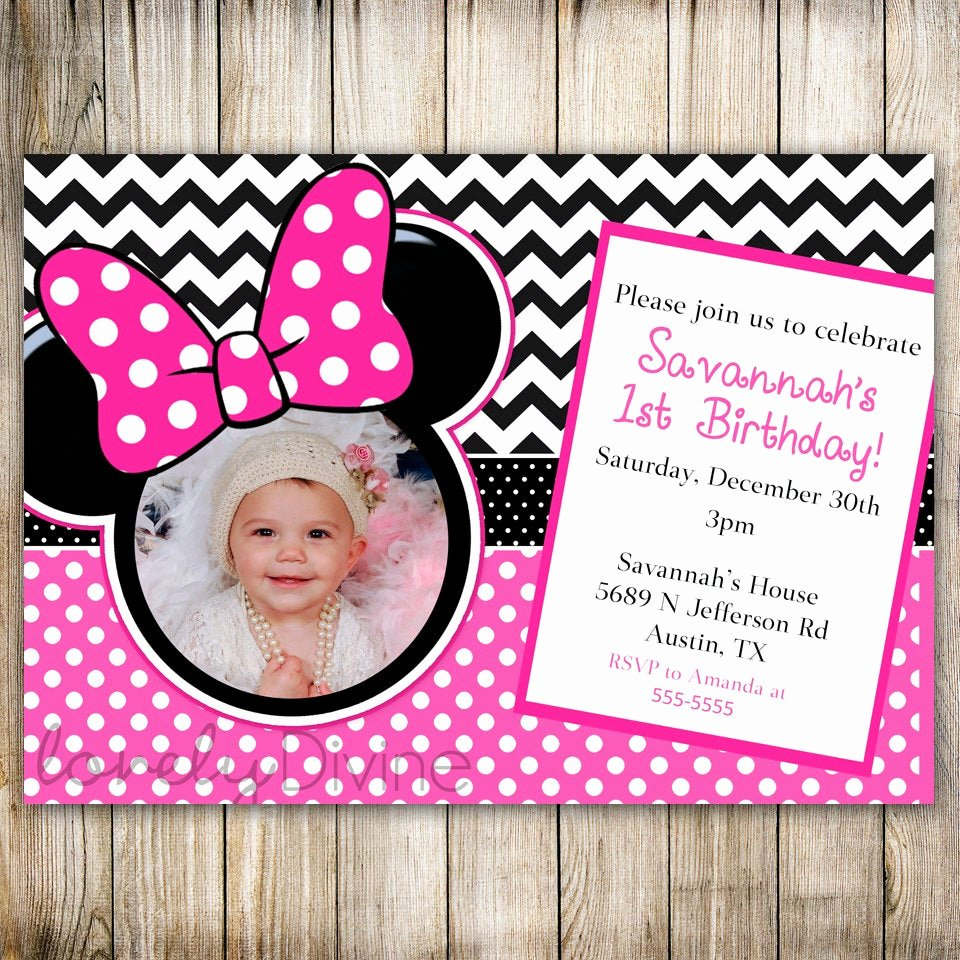 Minnie Mouse Personalized Invitations Beautiful Minnie Mouse Chevron Birthday 1st Birthday Invitation 2nd