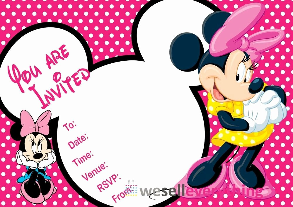 """Minnie Mouse Personalized Invitations Elegant 20 Minnie Mouse Party Invitations Kids Children""""s Invites Birthday A5"""