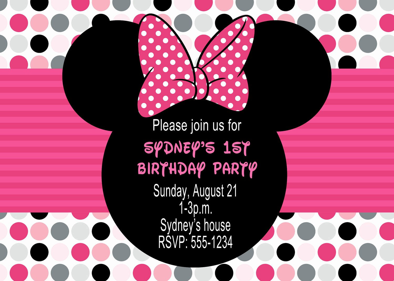 Minnie Mouse Personalized Invitations Elegant Minnie Mouse Birthday Party Invitations