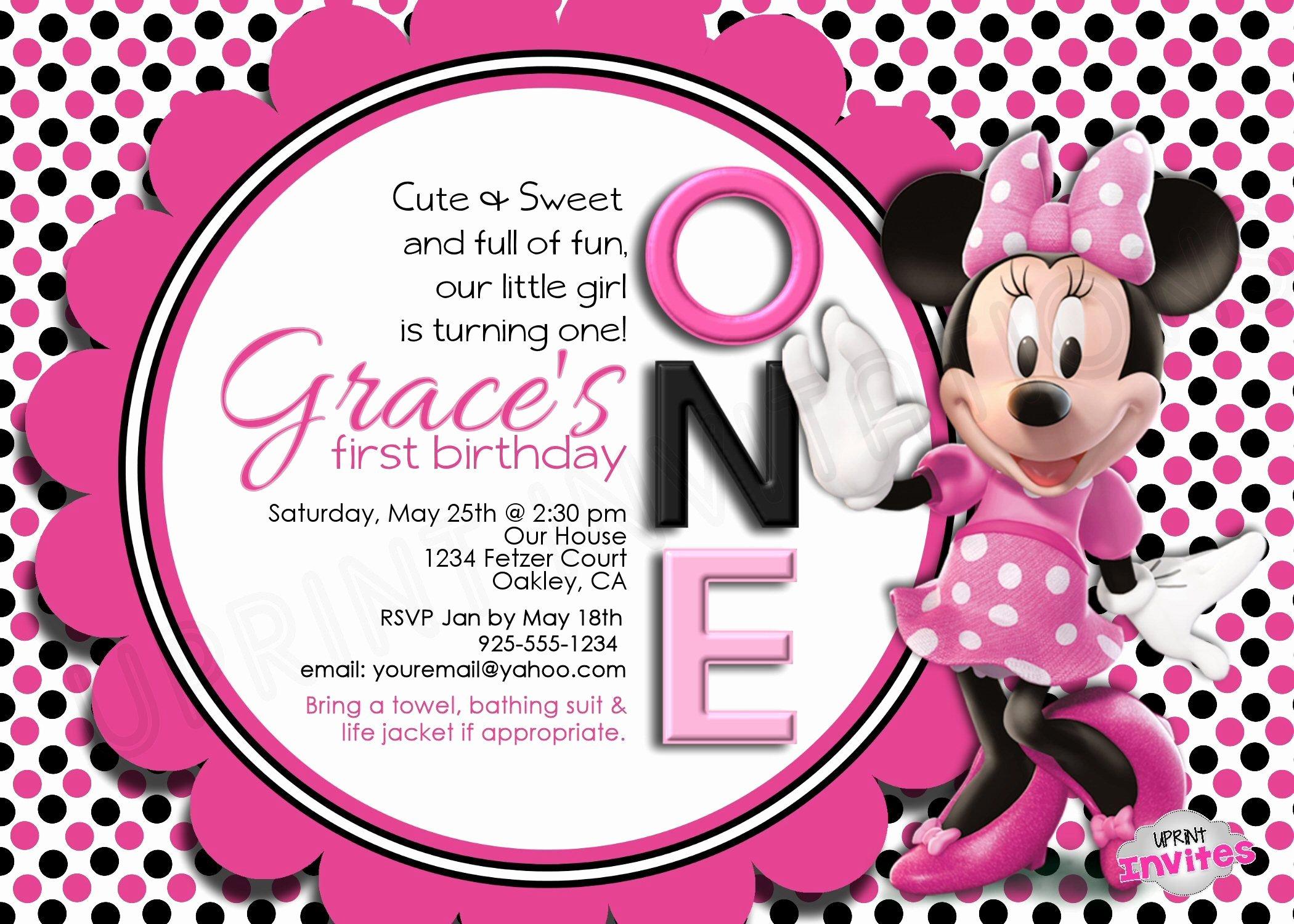 Minnie Mouse Personalized Invitations Elegant Minnie Mouse Personalized Invitation Uprintinvitations Invites Invitation