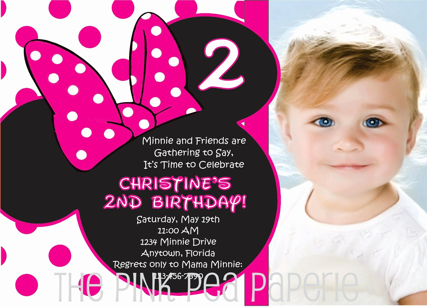 Minnie Mouse Personalized Invitations Fresh Personalized Minnie Mouse Birthday Invitations