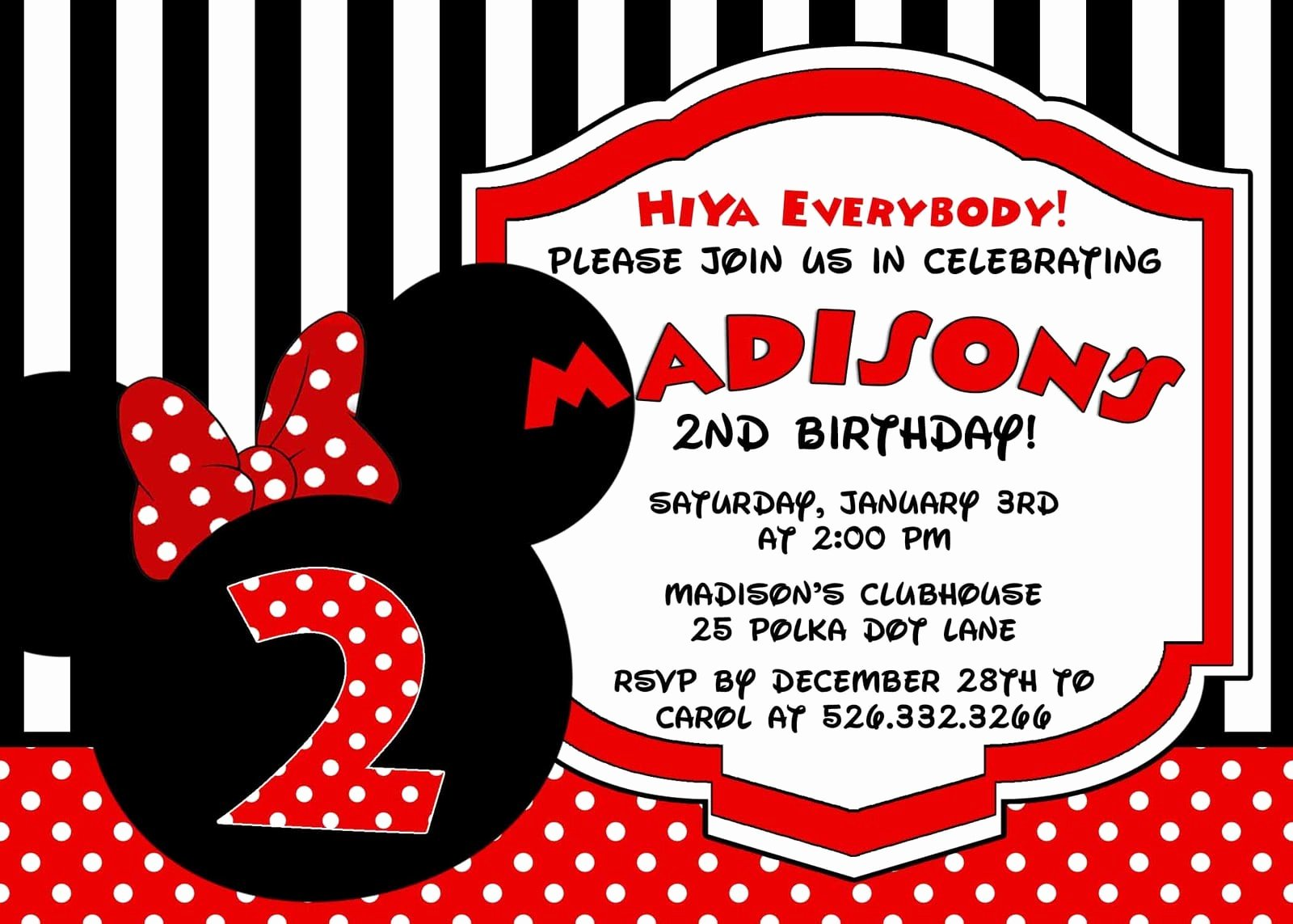 Minnie Mouse Personalized Invitations Inspirational Minnie Mouse Personalized Birthday Invitation