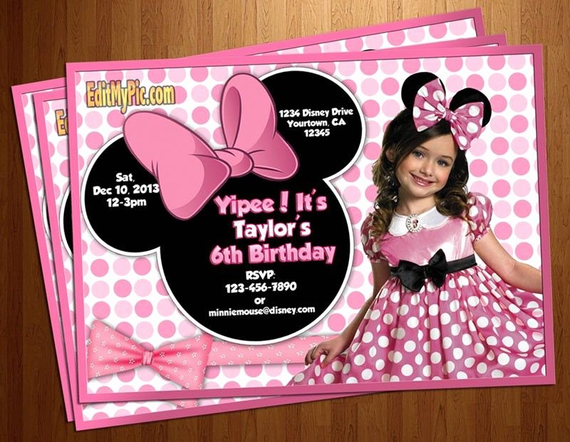 Minnie Mouse Personalized Invitations Lovely Minnie Mouse Pink Polka Dot Birthday Party Invitation Custom Personalized Printable Invites