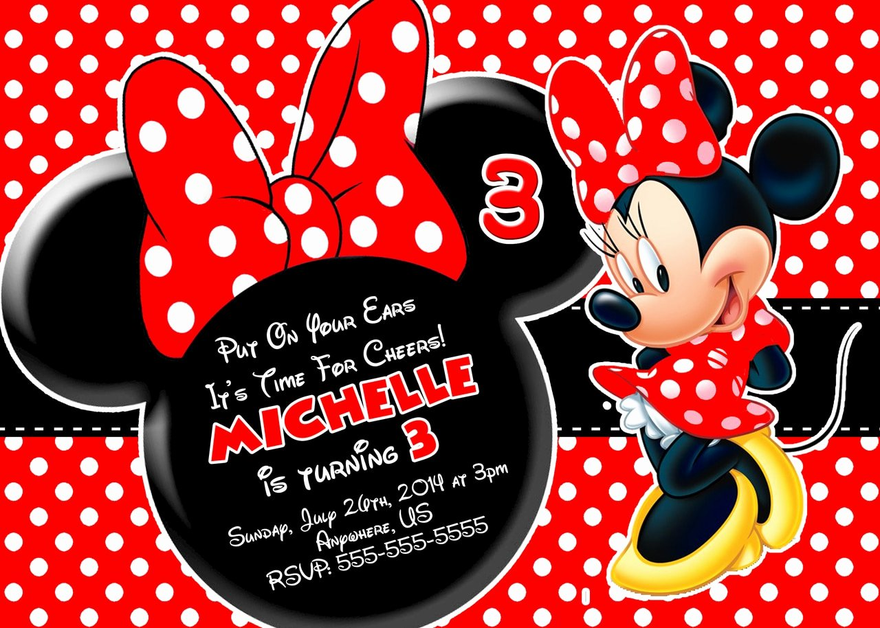 Minnie Mouse Personalized Invitations Lovely Red Minnie Mouse Birthday Invitations Partyexpressinvitations