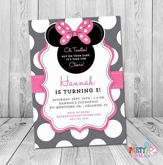 Minnie Mouse Personalized Invitations New Minnie Mouse 3rd Birthday Invitation Minnie Mouse Birthday