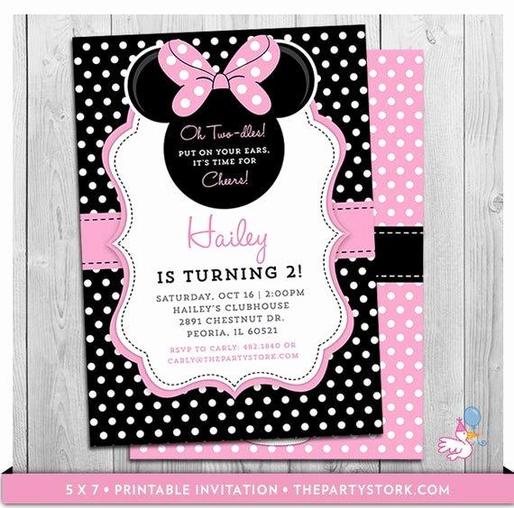 Minnie Mouse Personalized Invitations Unique Minnie Mouse Birthday Invitations Printable Oh Twodles Party