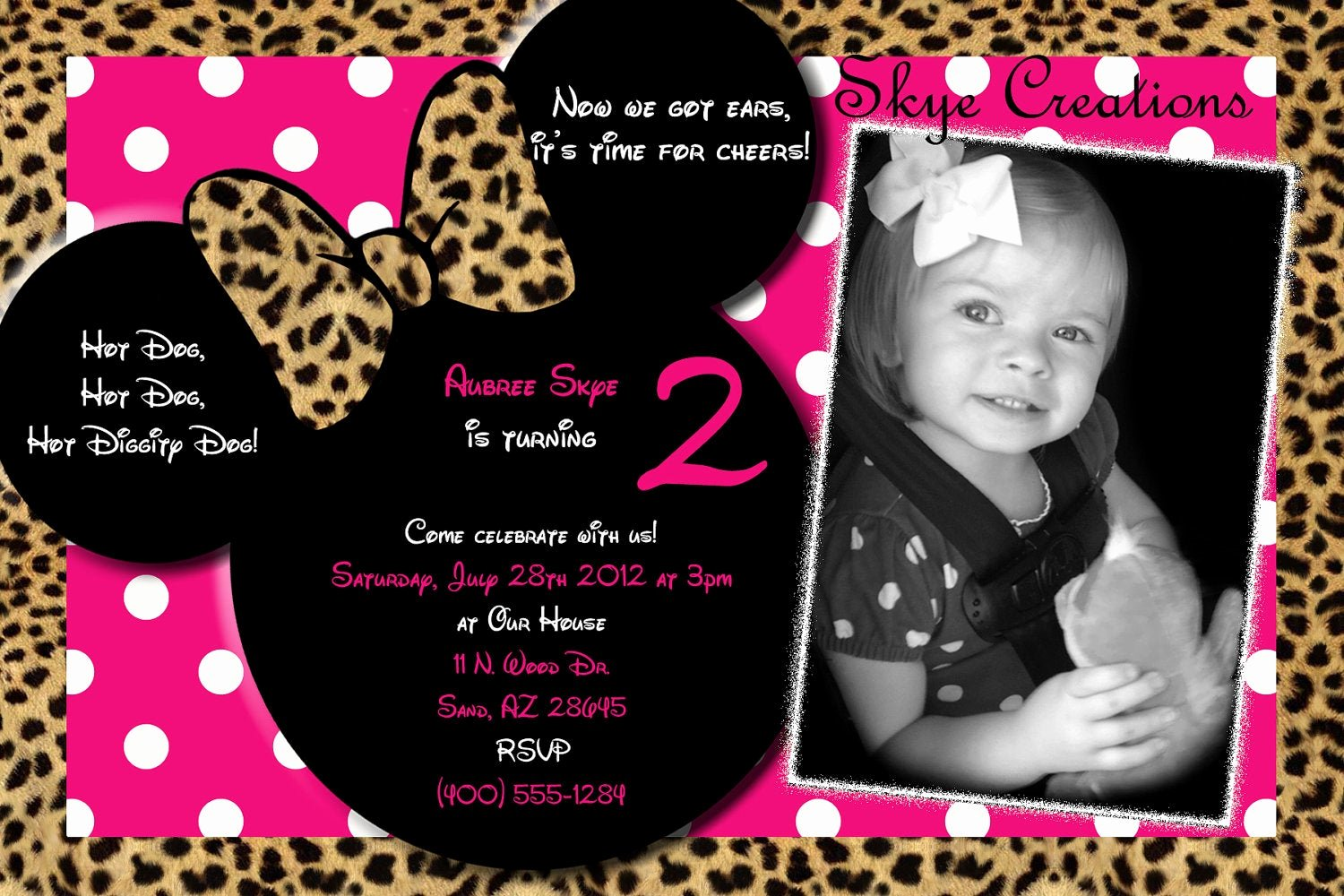 Minnie Mouse Personalized Invitations Unique Minnie Mouse Invitation Minnie Mouse Birthday Pink by Skyecreation