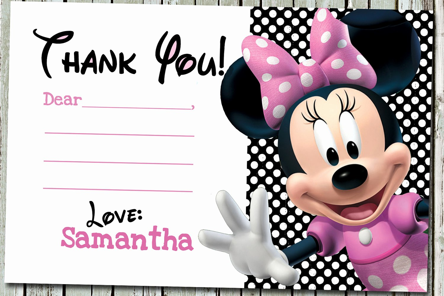 Minnie Mouse Thank You Cards Awesome Awesome Minnie Mouse Thank You Card