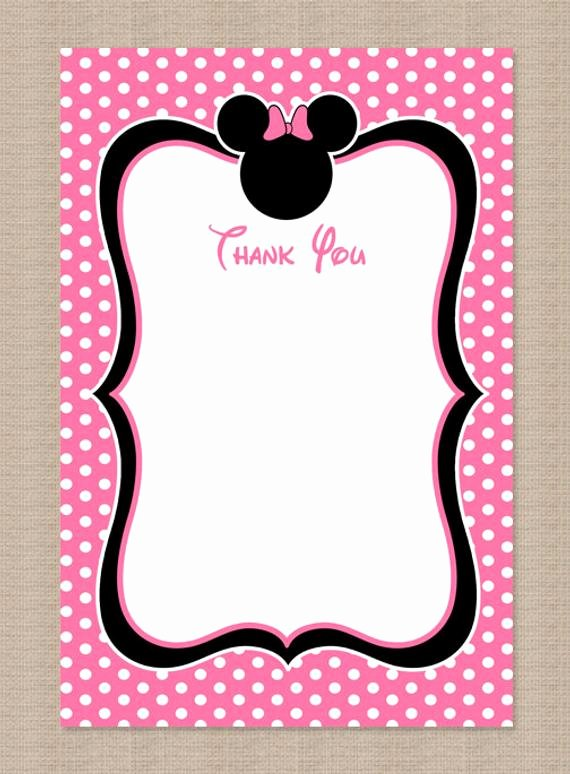 Minnie Mouse Thank You Cards Beautiful Printable Minnie Mouse Thank You Card by Honeyprint On Etsy