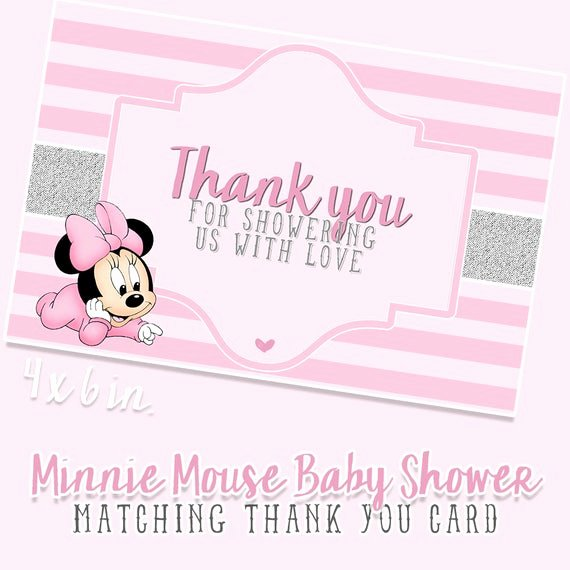 Minnie Mouse Thank You Cards Best Of Baby Minnie Mouse Baby Shower Thank You Cards Matching Pdf