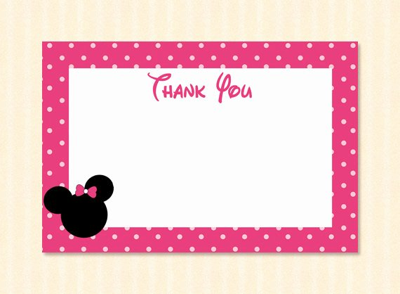 Minnie Mouse Thank You Cards Best Of Pink Minnie Mouse Thank You Card