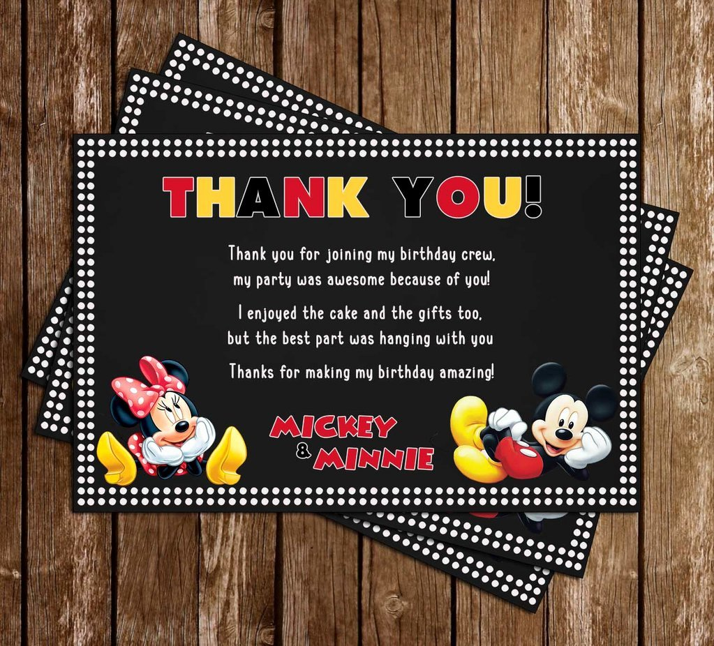 Minnie Mouse Thank You Cards Elegant Novel Concept Designs Mickey & Minnie Mouse Dots Birthday Party Thank You Card