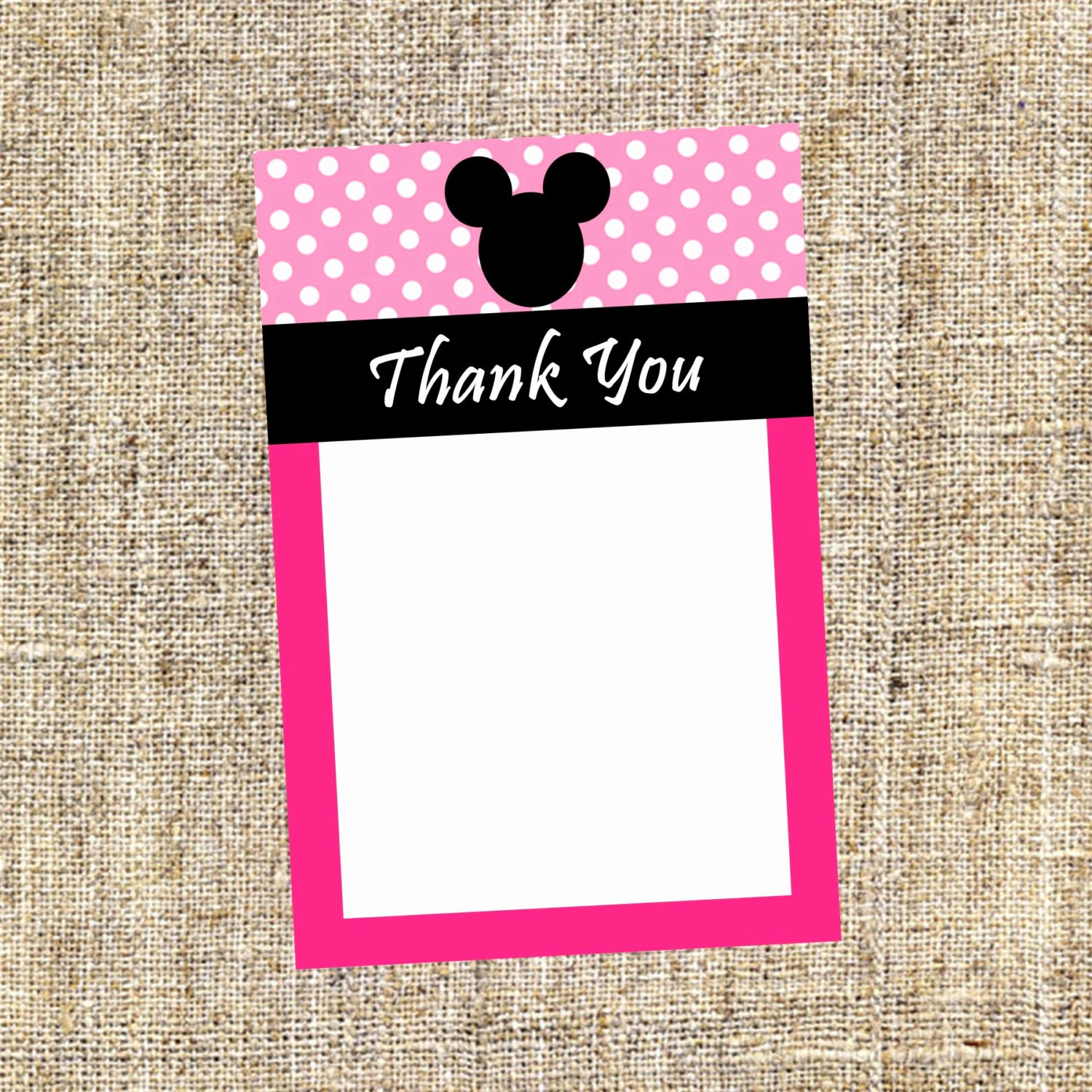 pink minnie mouse thank you card to