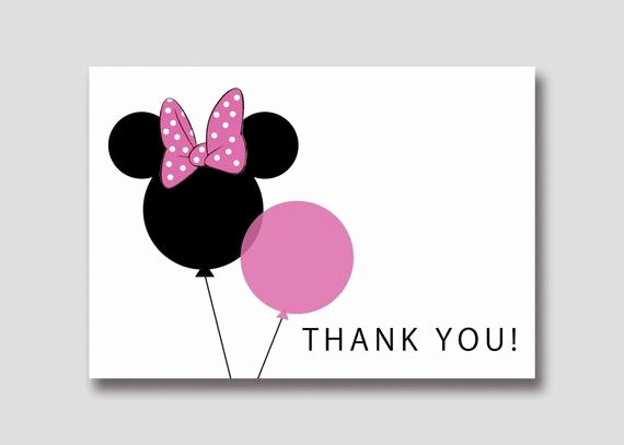 Minnie Mouse Thank You Cards Fresh Instant Download Minnie Mouse Balloons Thank You Card Diy