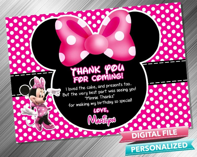 Minnie Mouse Thank You Cards Fresh Minnie Mouse Thank You Card