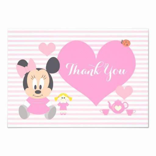 Minnie Mouse Thank You Cards Inspirational Minnie Mouse First Birthday Thank You Card