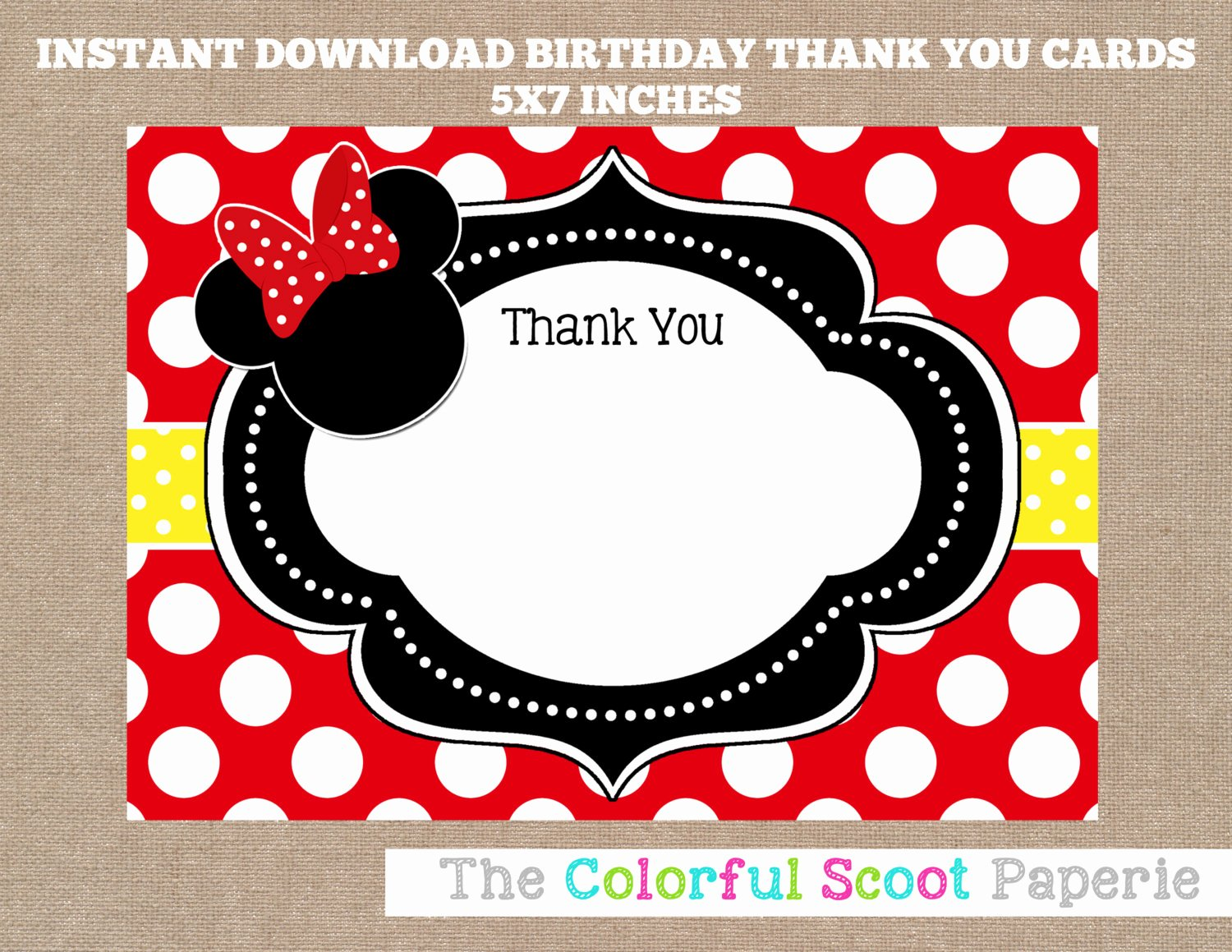 Minnie Mouse Thank You Cards Inspirational Minnie Mouse Thank You Card Disney Disney Thank You Cards