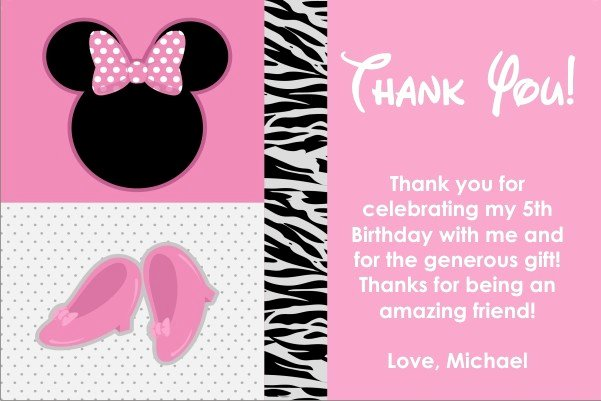 Minnie Mouse Thank You Cards Inspirational Pretty In Pink Mouse Thank You Card Similar to Minnie Mouse Personalized Party Invites