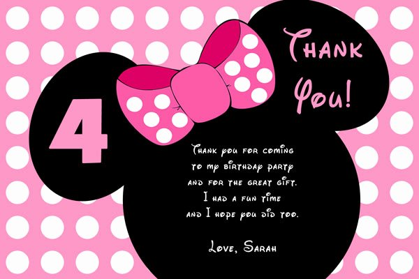 Minnie Mouse Thank You Cards Lovely Minnie Mouse Birthday Invitations
