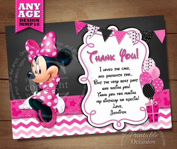 Minnie Mouse Thank You Cards Luxury Items Similar to Minnie Mouse Thank You Card with Pink Chevron Minnie Thank You Card Note