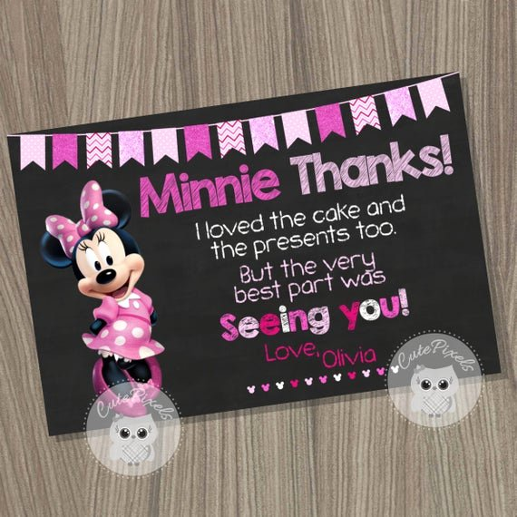 Minnie Mouse Thank You Cards New Minnie Mouse Thank You Card Minnie Mouse Birthday Minnie