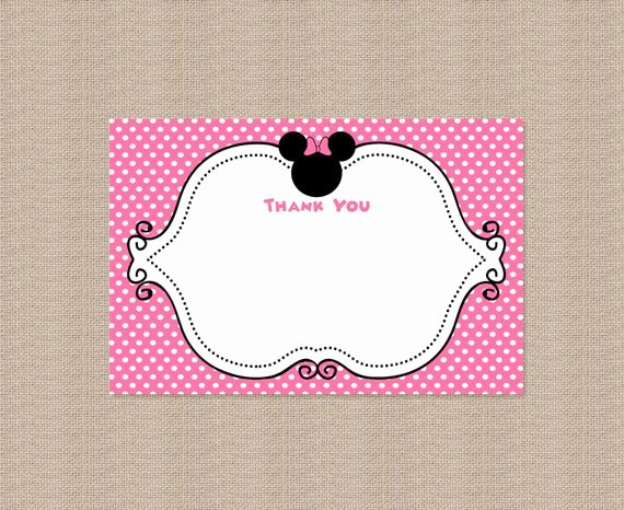 Minnie Mouse Thank You Cards New Printable Minnie Mouse Thank You Card by Honeyprint On Etsy