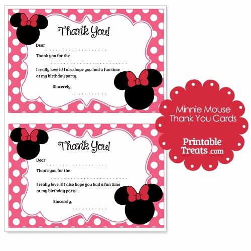 Minnie Mouse Thank You Cards New Printable Minnie Mouse Thank You Cards From Printabletreats