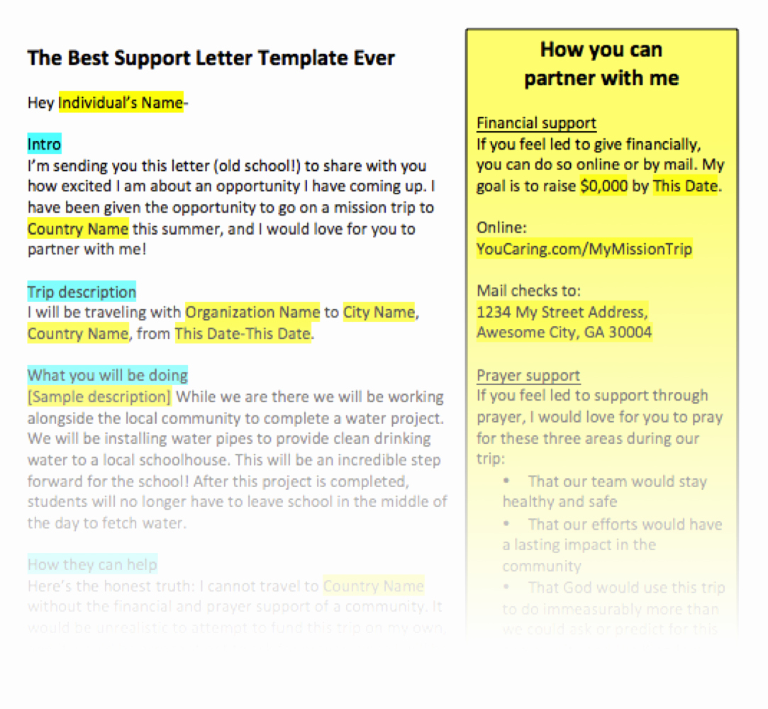 Missionary Prayer Card Template New the Best Support Letter Template Ever Seriously Fundraising