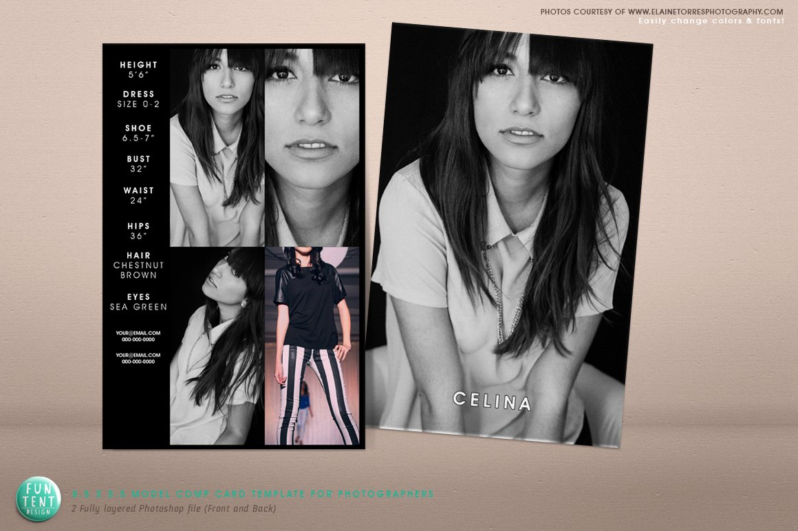 Model Comp Card Examples Beautiful Model P Card 8 5x5 5 Fashion Presentation Templates On Creative Market