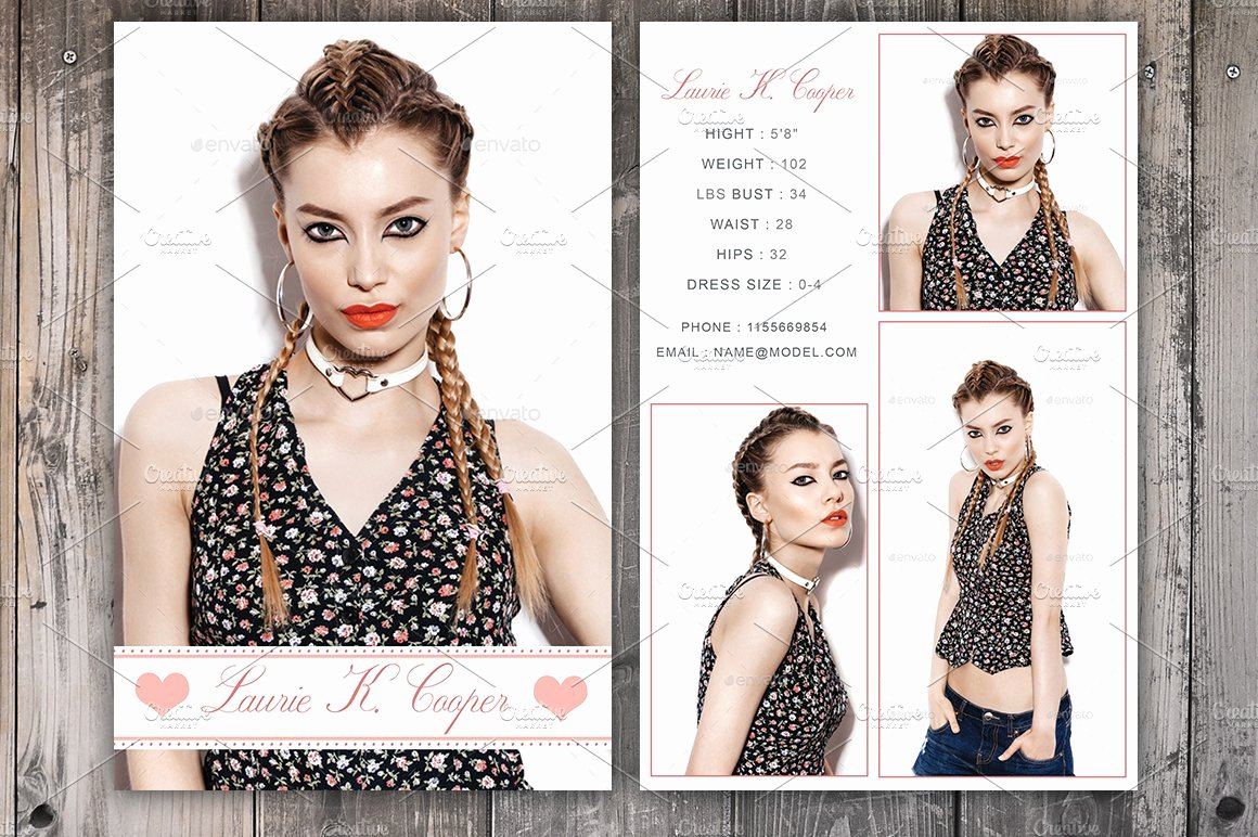Model Comp Card Template Beautiful Modeling P Card Template Card Templates Creative Market