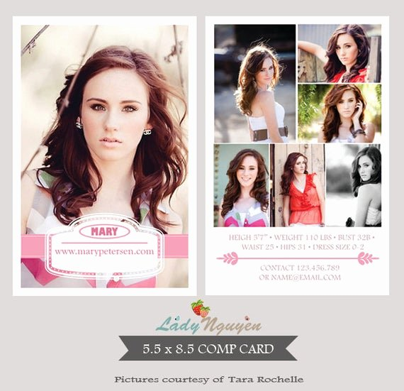 Model Comp Card Template Free Awesome Instant Download Modeling P Card Shop Templates