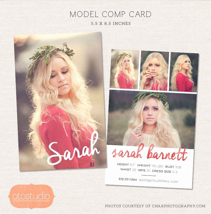 Model Comp Card Template Lovely Model P Card Shop Template Watercolor Chic Cm001