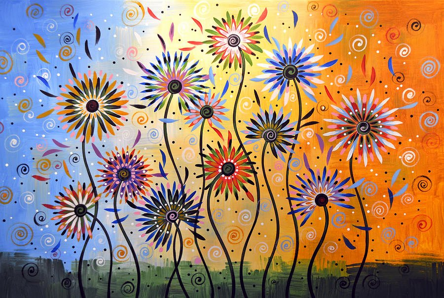 Modern Abstract Flower Paintings Beautiful original Abstract Modern Flowers Garden Art Explosion