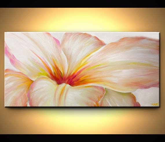 Modern Abstract Flower Paintings Elegant original Abstract Floral Painting Contemporary Acrylic