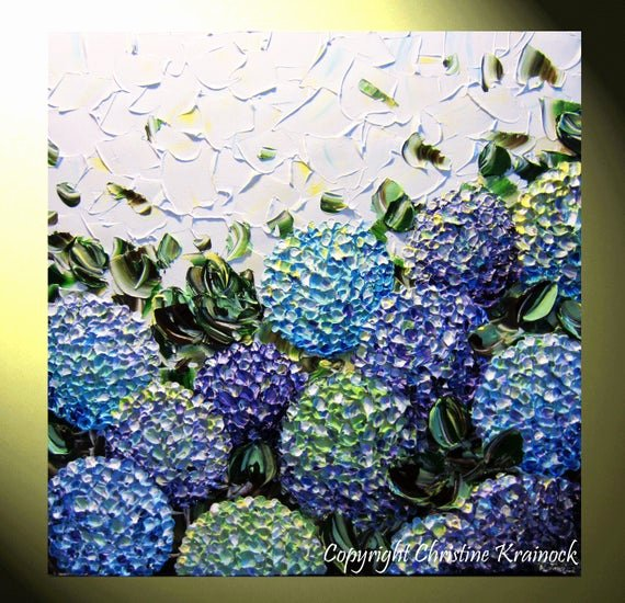 original art abstract painting hydrangea
