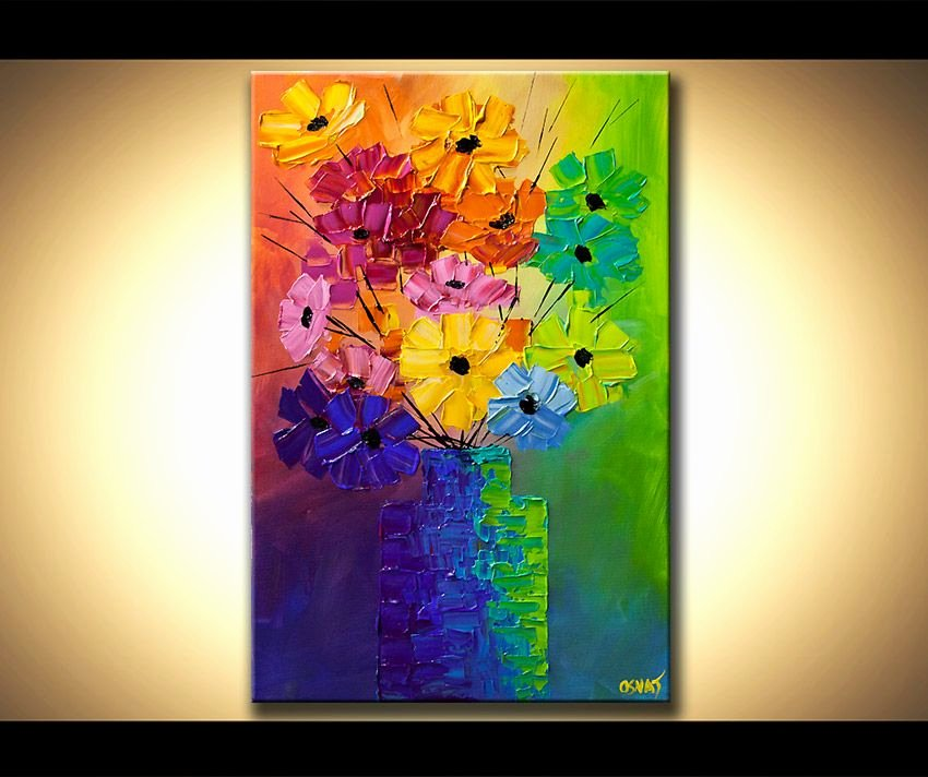 Modern Abstract Flower Paintings New original Abstract Acrylic Painting Colorful Flowers Modern