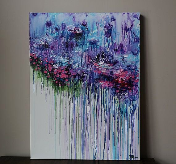 Modern Abstract Flower Paintings New Violet Purple Abstract Flower Painting Acrylic Painting
