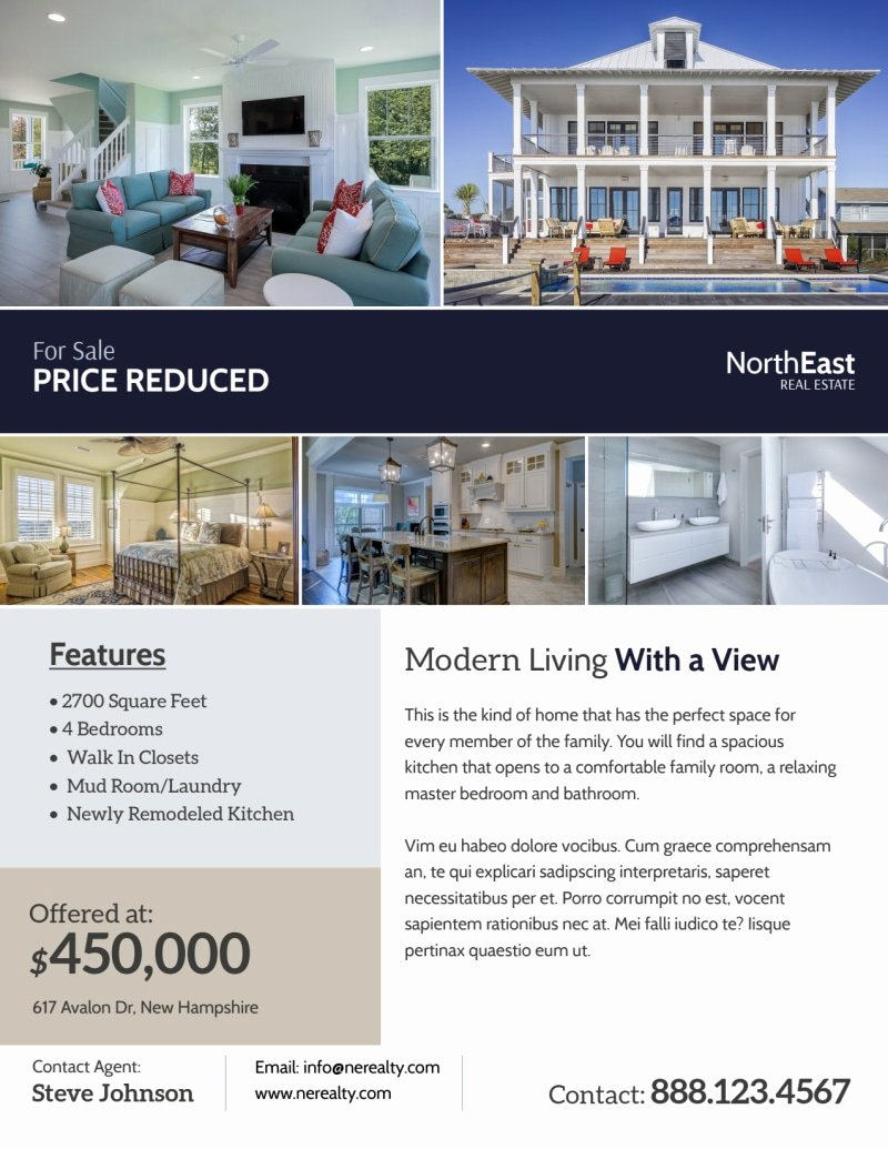 Modern Real Estate Flyers Awesome Modern Real Estate Price Reduced Flyer Template