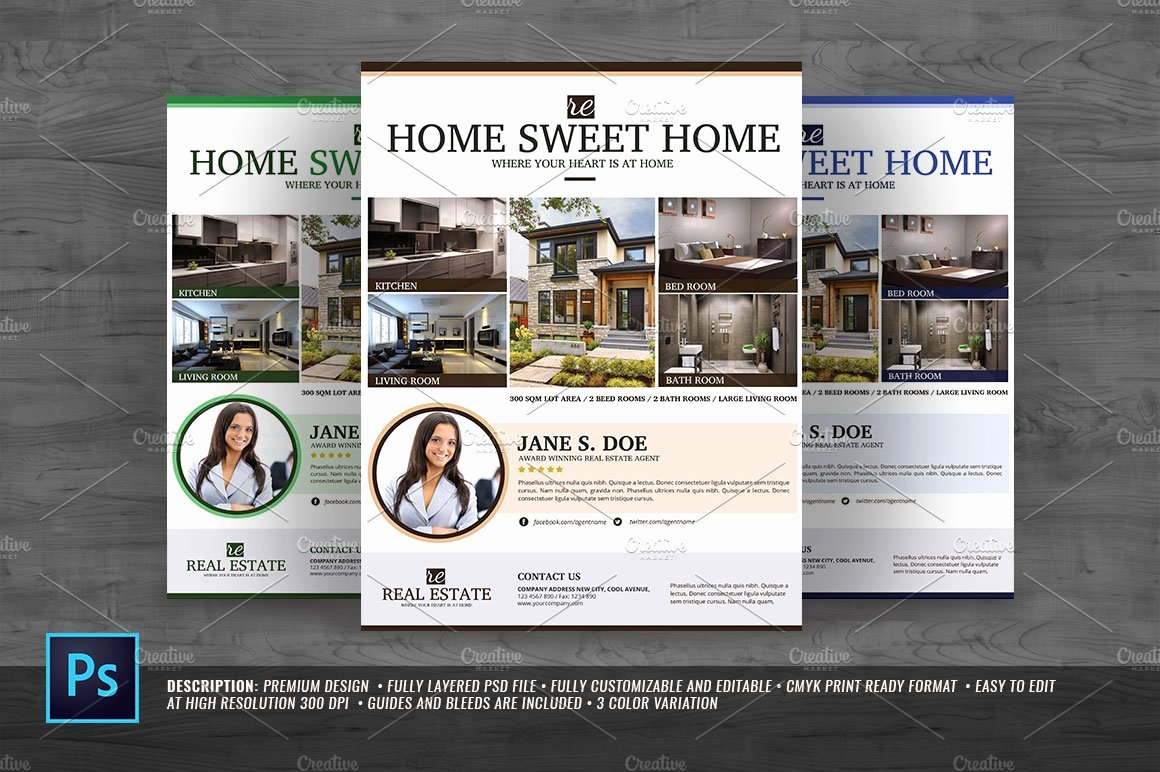 Modern Real Estate Flyers Beautiful Modern Real Estate Flyer Flyer Templates Creative Market