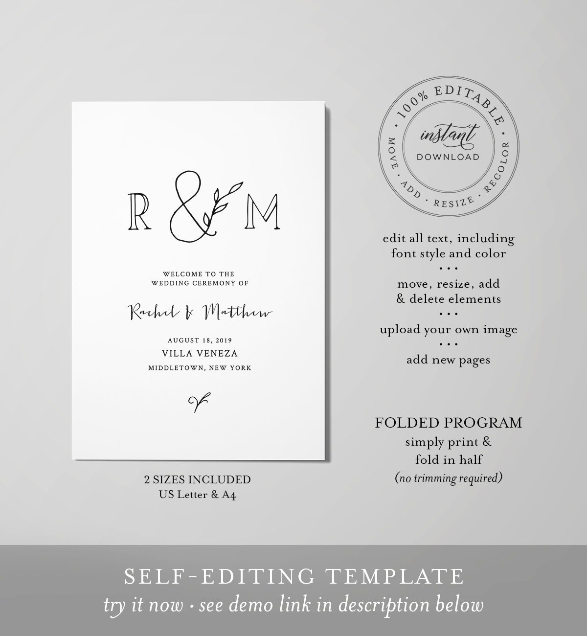 Monogram order form Template Awesome Rustic Wedding Program Template Instant Download order Of Service Folded Ceremony Program