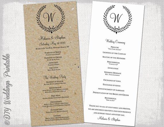 "Monogram order form Template Beautiful Wedding Program Template Rustic Black ""leaf Garland"" Printable Wedding Ceremony Program Diy"