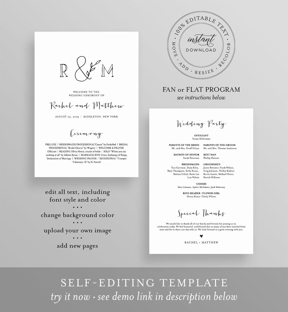Monogram order form Template Luxury Wedding Program Template Flat or Fan Program Rustic Monogram Instant Download Printable