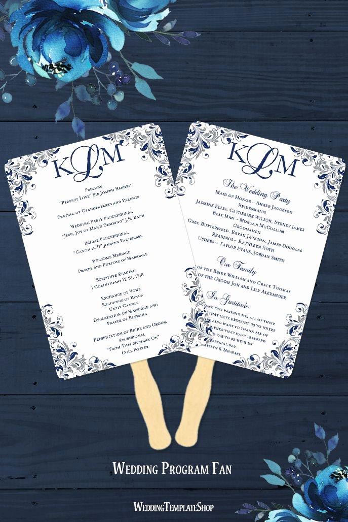 Monogram order form Template New Wedding Program Fan Kaitlyn Navy Blue Gray Monogram Martin Wedding