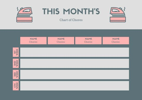 Monthly Chore Chart Template Elegant Gray Pink Monthly Chore Chart Templates by Canva