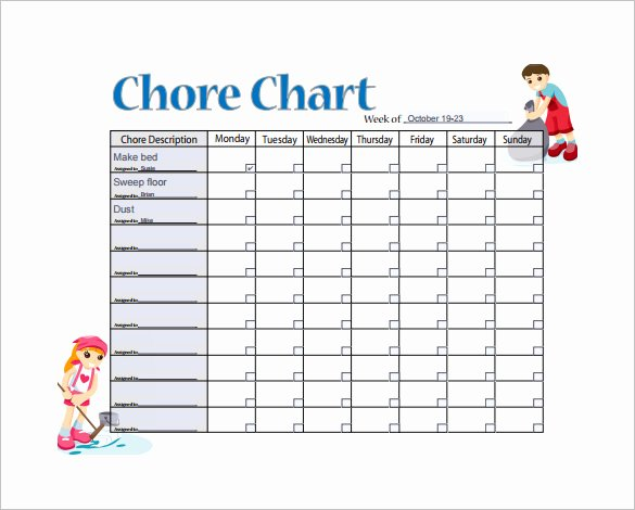 Monthly Chore Chart Template Inspirational 11 Sample Weekly Chore Chart Template Free Sample Example format Download